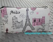Pencil Case/Cosmetic Bag/ Gadget Case - Glittery Pink Silver and Black Parisian