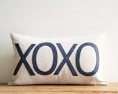 """xoxo decorative pillow cover, hugs and kisses, 12"""" x 20"""", valentines, natural rustic urban farmhouse industrial, kids, typography"""