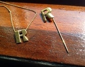 Initialed R necklace and pin set