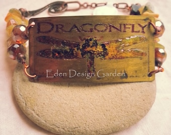Etched metal dragonfly bracelet with copper, crystal, and natural stone