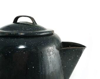 Black speckled cowboy tea kettle, Rustic kitchen decor