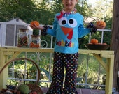 Thanksgiving Turkey Ruffle Pants Set - Infant Toddler Youth Girl Sizes - Goofy Turkey - Turquoise or Brown Shirt