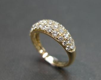 diamond wedding ring in 14k yellow gold diamond enagegemnt ring daimond wedding band - Wide Band Wedding Rings