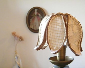 Shabby chic lamp, Floral home decor lamp, Rustic lighting, Living room unique lights decor, Antique Lace table lamp shade.