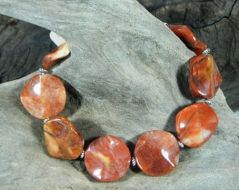 """Orange red carnelian agate bracelet 9"""" long wavy circles semiprecious stone jewelry  packaged in a gift bag 10114"""