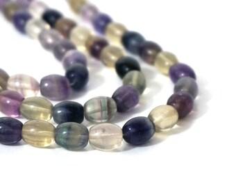 Rainbow Fluorite beads 10mm x 8mm oval gemstone, FULL & HALF strands available (132S)