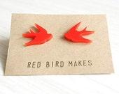 Lasercut Red Swallow Stud Earrings