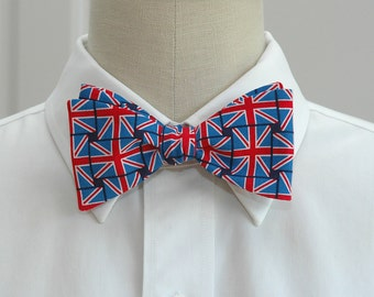 Men's Bow Tie British flag Union Jack design, English flag bow tie, British flag bow tie, patriotic UK bow tie, UK fan gift, English fan tie