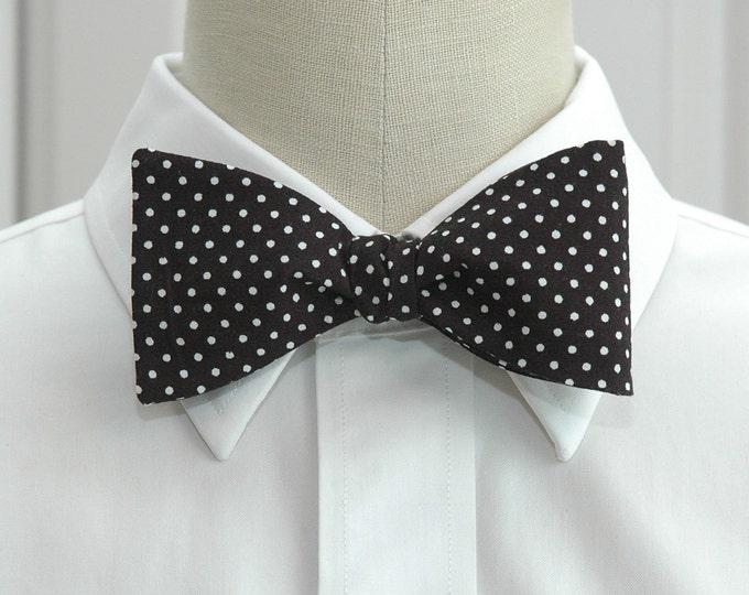 Men's Bow Tie, black white mini polka dots, classic bow tie, ebony bow tie, stylish wedding bow tie, boardroom bow tie, self tie bow tie,