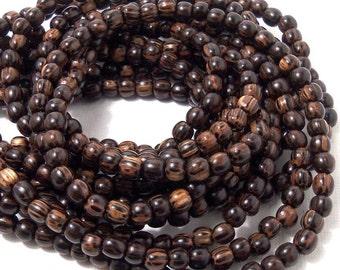 Patikan, Old Palmwood, Round, 4mm - 5mm, Very Small, Natural Wood Beads, Full Strand, 90pcs - ID 1672