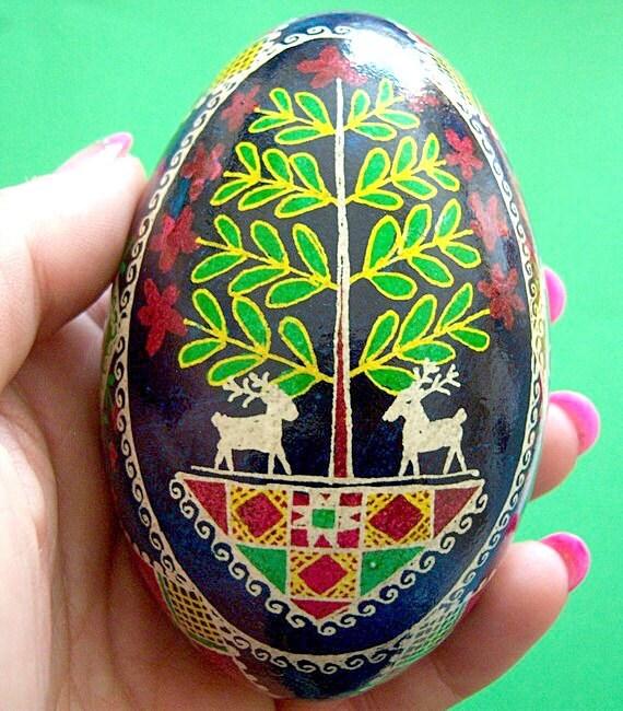 Egg, Pysanka, Ukrainian Easter Egg, Batik decorated Goose Egg- Deer Park- Ukrainian Egg