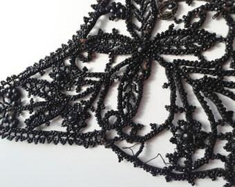 Victorian Black Glass Bead Applique, Vintage Applique