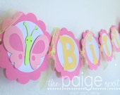 Butterfly Birthday Banner in Pinks & Yellow - spring butterfly collection