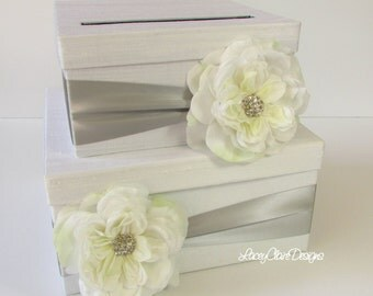 Card Box Wedding Bridal Shower Card Box in white and silver - Custom Made
