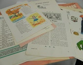 Vintage Paper Ephemera Lot Jack and Jill Magazine Pages and Paper Doll Scene Folder