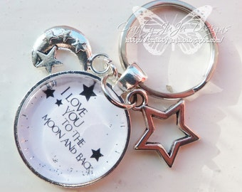 I Love You To The Moon And Back' Glass Tile Key Ring
