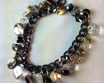 Vintage Rhinestone Button Bracelet. Repurposed. Recycled