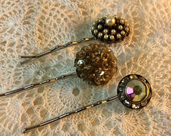Rhinestone Pearl Bobby Pins. Wedding. Bridesmaid