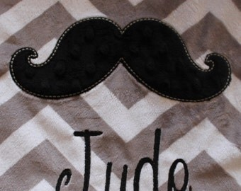 Baby blanket, Personalized blanket, Minky blanket 29 x 35 blanket, Mustache blanket