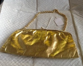 Vintage PRINCESS STYLE Gold Lame Evening Bag Princess style Purse Western Germany