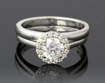 Wedding Set Shiny 0.91 Carat Diamond Halo Engagement Ring in 18k White Gold
