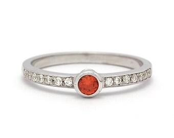 Low Profile Diamonds Orange Sapphire Engagement Ring in White Gold