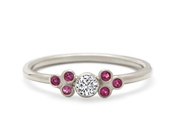 Elegant Low Profile White Gold Diamond Engagement Ring
