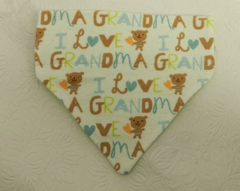 I Love My Grandmother! I'm Grandma's Little Fur Boy!!. Blue and Brown Pattern. Dog Cat Ferret Reversible 2 in 1 Over the Collar Bandana.
