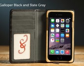 The Luxury Pocket Book Wallet Case for iPhone 6/6S - Galloper Black and Slate Gray