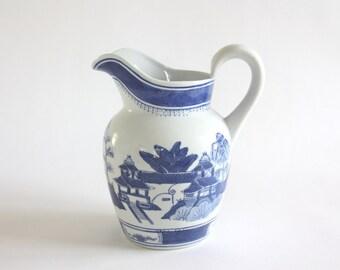 Vintage Blue and White Ceramic Pitcher, Vase