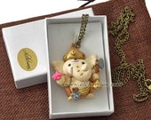 Ganesh Ganesha with Mouse, handmolded in polymer clay, gold colours