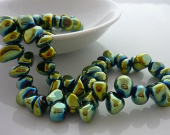Metallic green coated quartz side drilled pebble beads 5-12mm 1/2 strand