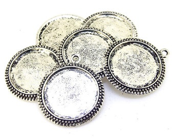 5pcs Antique Silver Filigree Circle Pendant Base Dot Pad Base Findings base fit 25mm gemstone beads,Cabochon Base Jewelry Fitting