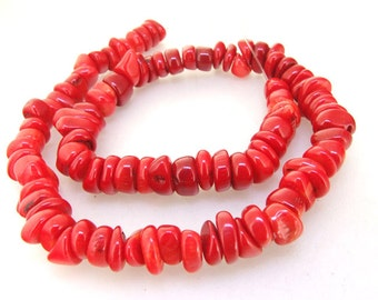 95beads One Full Strand Heishi Red Coral Gemstone Beads Strand 10mm 16inch