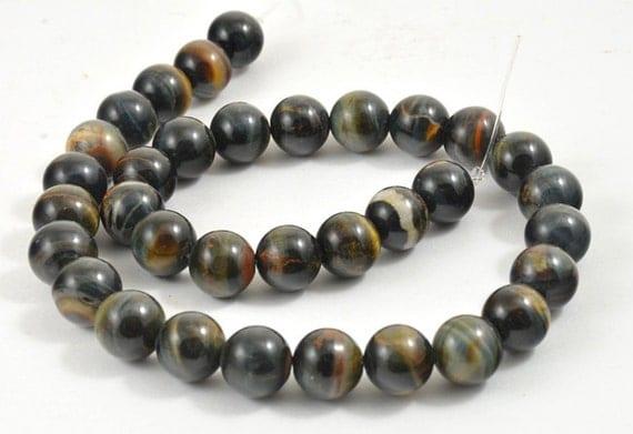 Blue Yellow Tiger Stone Crystal Quartz  Gemstone Beads Strand 12mm