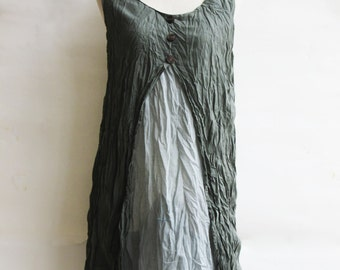 D6, Two Tone Two Layers Sleeveless Jade Green Cotton Dress
