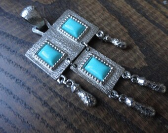 Sarah Coventry Silvertone and Faux Turquoise Pendant, Folklore