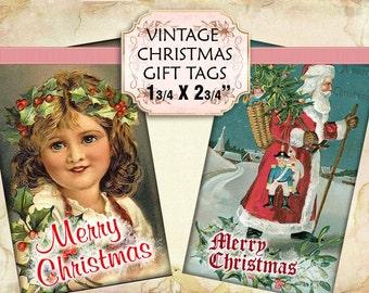 Vintage Victorian Santas Christmas Gift Tags digital collage sheet 1 3/4 x 2 3/4 inch size (235) Buy 3 get 1 bonus