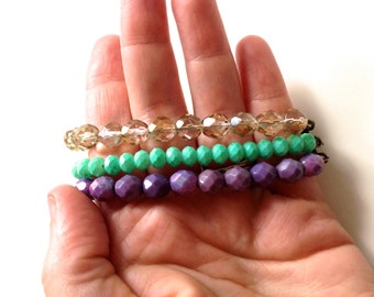 Pretty Violet, Mint, and Gold Crystal Czech Glass beaded bracelet with pretty antique brass toggle clasp. Lovely colors for any season.