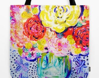 Summer Bouquet Colorful Hot Pink, Yellow and Turquoise Floral Painting Print  Canvas Carry-all tote bag. A gorgeous floral summer print bag.