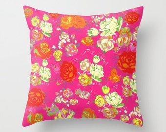 Beautiful Floral Pillow Cover with Vintage/Antique Inspired print design. Available in several colors, or customize with your own colors.