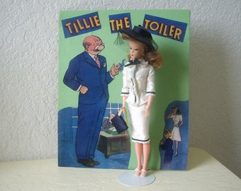 Barbie Clone Doll as Tillie The Toiler with background prop.