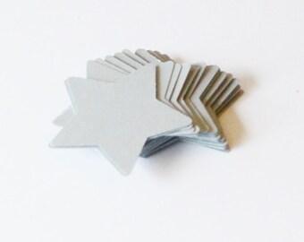 Silver Stars, Metallic Silver Stars for Wedding or Bridal Shower Confetti, Die Cut Star, Set of 50