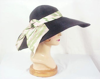 40s Hollywood Film Noir - Glam Straw Brim Hat with Scarf, Gage Brothers
