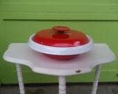 Vintage Mid Century Modern Housemates Red White Enamel Casserole Dish