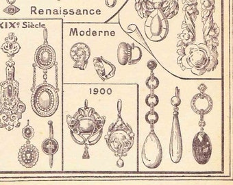 Beautiful Antique Print Book Plate 1920s page Engraving Earrings Jewellery Fashion Accessories ear ring