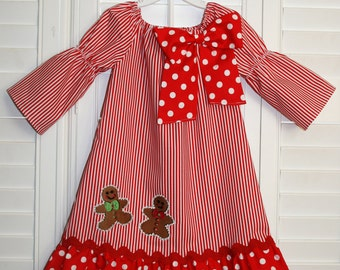 Gingerbread  Man Dress Christmas Peasant  Dress with long sleeves   size 6m-8T
