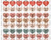 Conversation Hearts  VintageValentine's Day Valentine tags Digital Collage sheet Printable