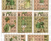 Vintage Shabby Chic St. Patrick's Day Bingo  ATC cards Collage Sheet Printable