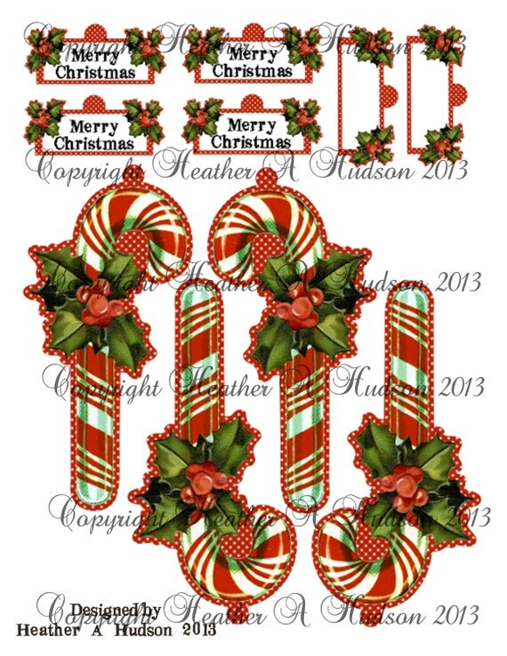 Vintage Classic Candy Cane  Christmas  tags Ornament  Digital Collage sheet Printable